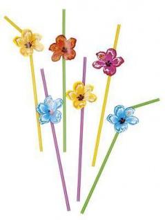 6 Stück Strohhalme Trinkhalme mit Hawaii Blumen, Hawaii-Party, Mottoparty