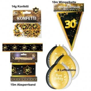 Party Deko Set zum 30. Geburtstag Party 30 Jahre Jubiläum schwarz gold (Set 3)