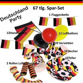 67tlg. Deutschland Party Deko-Set - Fanartikel WM EM Sport Fußball - Teller etc.