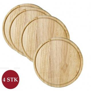 4 Stück Fleischteller Holz rund Ø 25 x H: 1, 2cm Schneidebrett Servierteller