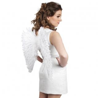 Federflügel weiß mit Silber Glitter 57 x 62cm Flügel Engelsflügel Engel Kostüm