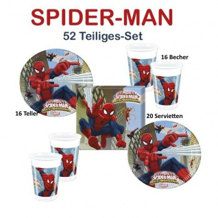 Spiderman 52 tlg. Kinder Geburtstag Set 16 Teller 16 Becher 20 Servietten Party