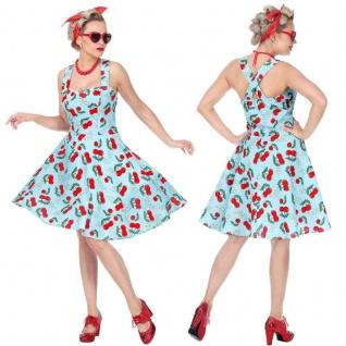50er Tanzkleid Rockabilly Petticoat Kleid Damen Kostüm Rock'Roll Vintage Kirsche