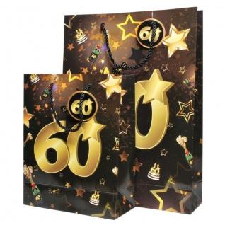 """2 St. Geburtstag Geschenk Taschen Set """" 60"""" Schwarz Gold Tüte Jubiläum Verpackun"""