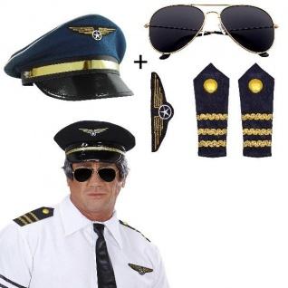 5tlg. Pilotin Piloten-Set Kostüm - Brille+Schulterklappen+Abzeichen+Hut/Mütze
