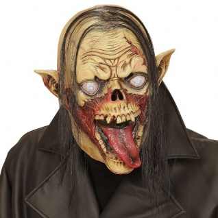 Maske VAMPIR ZOMBIE mit Haaren Latex Horror Grusel Karneval Halloween 0509