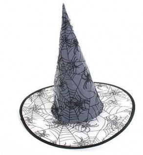 Hexenhut scwarz grau mit Spinnennetz Halloween (38106) Fasching Hexe Hut