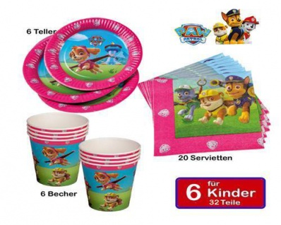 44Teiliges Party Set PAW PATROL 12xBecher 20xServietten 12xPappteller Geburtstag