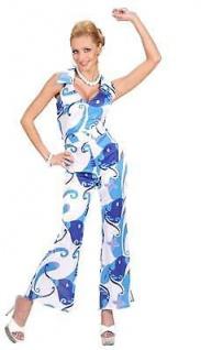 70er Jahre Anzug blau Damen Kostüm OVERALL MIT GÜRTEL Disco Hippie Party