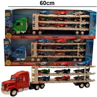Power TRUCK MIT ANHÄNGER und 9 FORMEL 1 RENNWAGEN Friktionsantrieb Spielzeug LKW