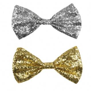 FLIEGE PAILLETTEN silber oder gold Glitzer Glitter Bowtie Schleife Karneval