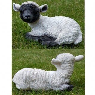 Figur Lamm Lämmchen Schaf liegend Heidschnucke lebensecht Garten Deko #8939