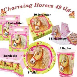 charming Horses 49 tlg.Set Kinder Geburtstag Party Deko, Tischdecke, Teller, ect.