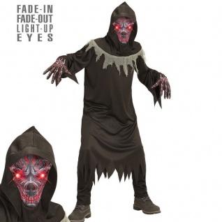 Kostüm teuflischer Dämon Geist mit leuchtende Augen für Kinder Jungen Halloween