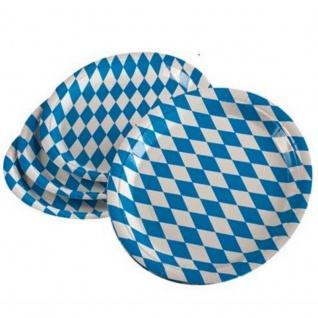 100 Party Teller BAYERN RAUTE blau weiß Wiesn Oktoberfest Tisch Deko