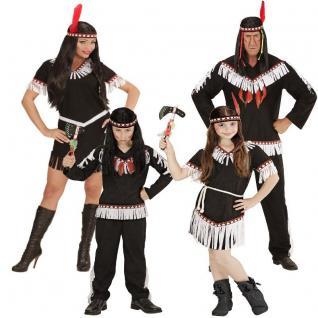 INDIANER FAMILIE Indianerin Damen Herren Junge Mädchen Kostüm Sioux Apache Squaw