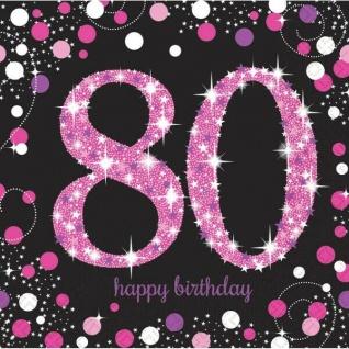 80. Geburtstag Party Motiv Servietten schwarz rosa pink Feier Tisch Deko #1753