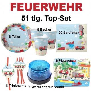 51tlg.TOP-Set FEUERWEHR Kinder Geburtstag Party Teller Becher Sirene - DHKzt