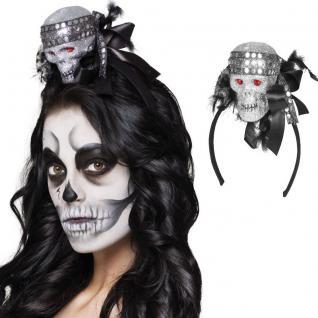 GLITTER TOTENKOPF auf Haarreif Halloween Karneval Zubehör Hut Mütze #2084