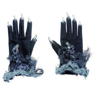 Hexenhandschuhe mit Fingernägeln Fasching Kostüm Zubehör