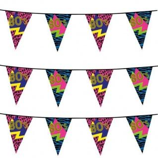 80er Jahre Wimpelkette 6m Party Artikel Dekoration Disco Motto Party 600cm #4600