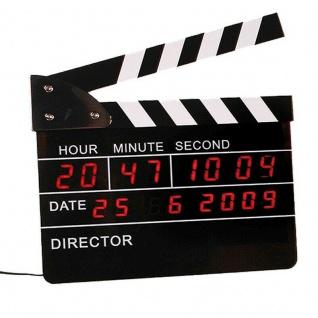 Wecker mit Digitaluhr & Datum-Anzeige Digitale Filmklappe 22 cm LED Uhr Wanduhr
