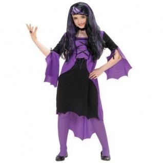 VAMPIR GIRL Kostüm Mädchen lila Vampiress Hexe Kinder Halloween Kleid s5850
