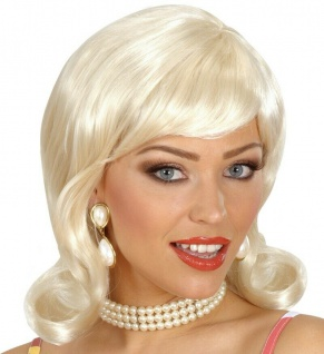 Blonde 50er Jahre Damen Perücke Rockabilly Rock´n´Roll Kostüm Karneval #f0695