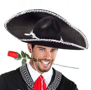 SCHWARZER SOMBRERO Mexiko Kostüm Zubehör Deko Karneval 1414