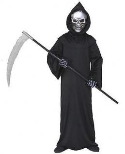 Kinder KOSTÜM GRIM REAPER Tod Geist mit holographisch Maske 128-158 Halloween