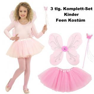 Kinder Feen Kostüm Set 3tlg. Tüllrock Flügel Zauberstab Rosa - Schmetterlingsfee