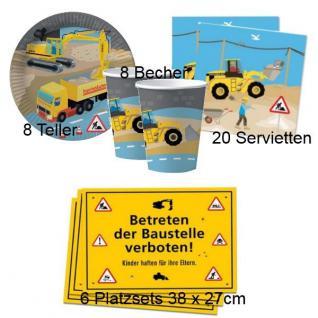 BAUSTELLE 42 tlg. Set Kinder Geburtstag Teller Becher Servietten Platzsets DHK