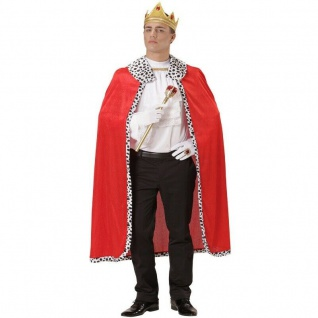 Umhang König mit Krone - Königskostüm Mantel - Königsumhang Pannesamt Krone