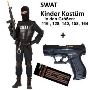 Polizei Kinder Kostüm SWAT Agent Officer mit Knallpistole P99 + Munition