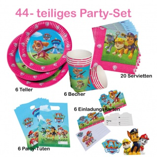 44 tlg Spar-Set Girls Paw Patrol Kinder Geburtstag Party Deko Teller Becher TIP