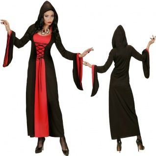 GOTHIC LADY 36 38 40 42 44 46 48 Mittelalter Kleid mit Kapuze Kostüm Fasching