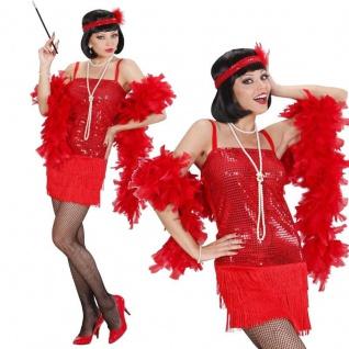 20er Charleston Pailletten Kleid + Stirnband Damen Kostüm 34/36 (S) rot #7032