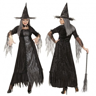 Spiderweb Oberhexe Deluxe Damen Hexen Kostüm Gr. 42/44 L Kleid Schwarze Witwe