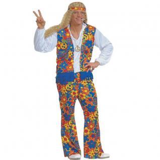 HIPPY KOSTÜM für Männer L 52 Hippie Verkleidung 70er Jahre Flower Power 70ties
