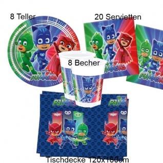 PJ-MASKS Kinder Geburtstag Party - Teller Becher Servietten Tischdecke - 37 tlg