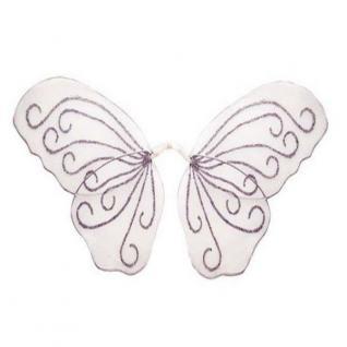 GLITZER FEENFLÜGEL - WEIß - Kostüm Zubehör Feenflügel Elfenflügel Schmetterling