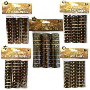 Luftschlangen 18 30 40 50 60 Schwarz/Gold Geburtstag Jubiläum Party Dekoration