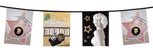 "Wimpel Girlande "" Hollywood"" 600 cm - Hollywood Film Motto Party Deko (4200)"