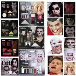 MAKE UP SETS Schminke Hexe Vampir Zombie Dracula Skelett Teufel Halloween