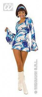 HIPPIE KLEID BLAU 70er Jahre Stil Gr. L 42 44 Damen Köstüm Fasching Karneval