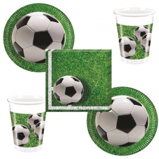 FUSSBALL Platz 52 tlg. Party Set - Becher Servietten Teller - Kinder Geburtstag