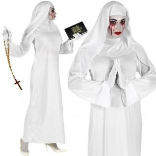 Nonne Weiß Damen Kostüm Halloween Geist Horrorfilm Zauberkostüm Kleid mit Haube