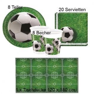 FUSSBALL Platz Kinder Geburtstag - Teller Becher Servietten Tischdecke - 37 tlg
