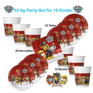 52 tlg Party*PAW PATROL* Kinder Geburtstag 16 Teller 16 Becher 20 Servietten