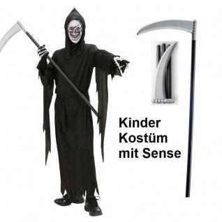 TOD SENSENMANN mit SENSE Kinder Kostüm Gr. 128 Reaper Halloween Karneval #3146